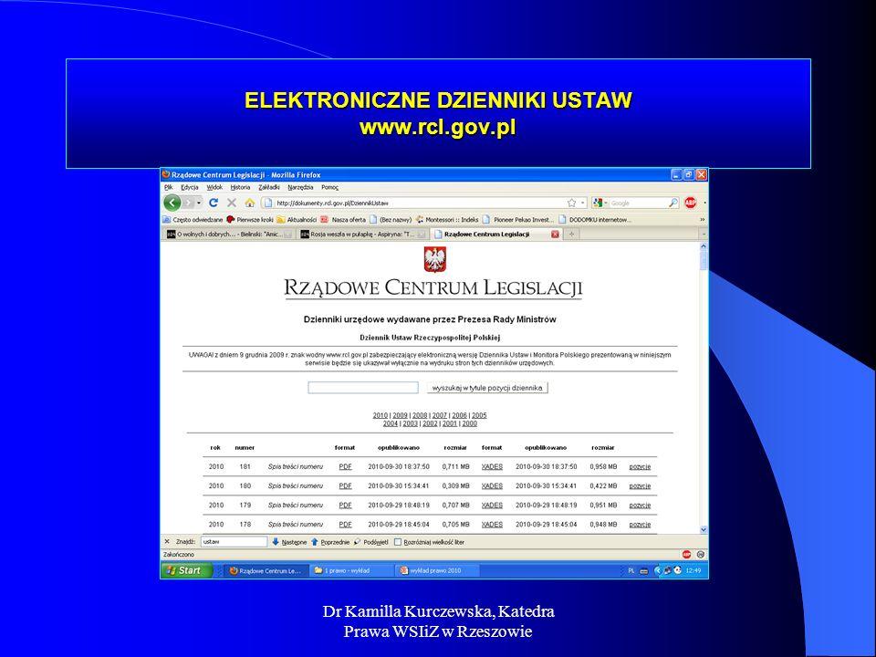 Dr Kamilla Kurczewska, Katedra Prawa WSIiZ w Rzeszowie ELEKTRONICZNE DZIENNIKI USTAW www.rcl.gov.pl