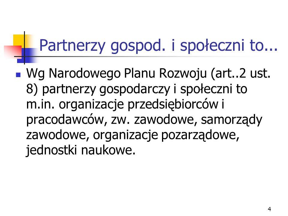 4 Partnerzy gospod. i społeczni to... Wg Narodowego Planu Rozwoju (art..2 ust.