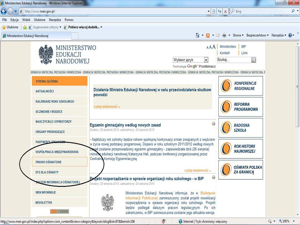 USTAWA z dnia 5 sierpnia 2010r.o zmianie ustawy o systemie oświaty (Dz.