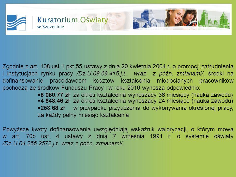 Zgodnie z art. 108 ust 1 pkt 55 ustawy z dnia 20 kwietnia 2004 r. o promocji zatrudnienia i instytucjach rynku pracy /Dz.U.08.69.415.j.t. wraz z późn.