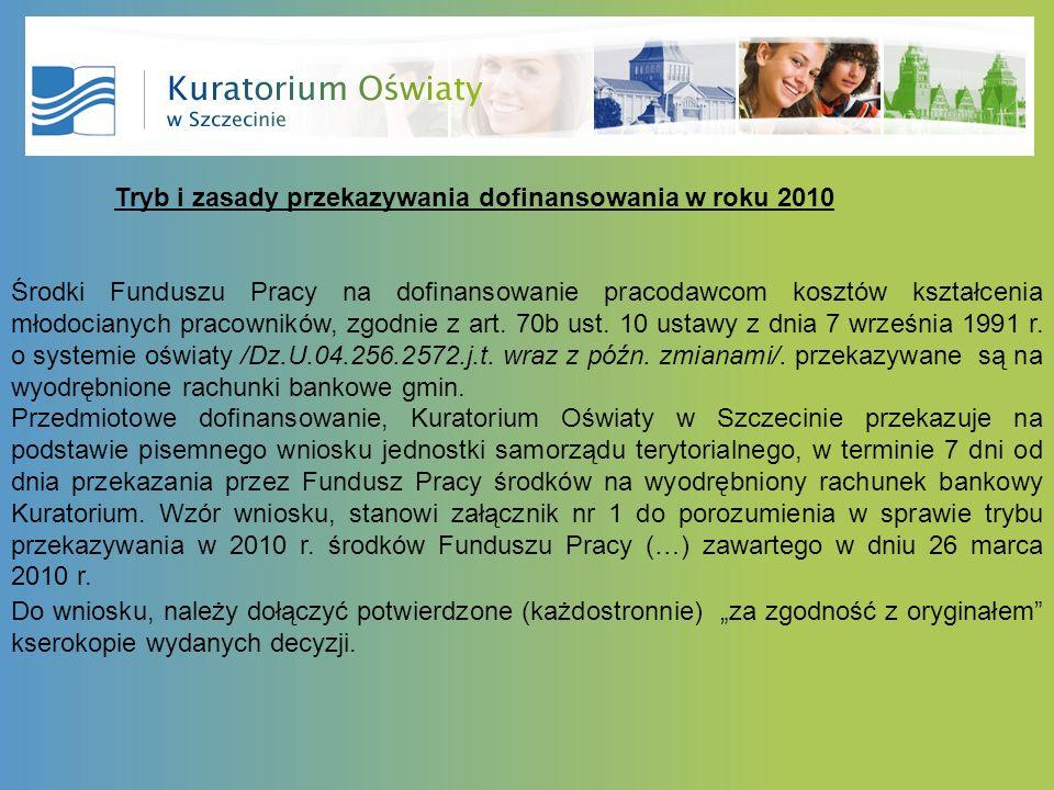 Tryb i zasady przekazywania dofinansowania w roku 2010 Środki Funduszu Pracy na dofinansowanie pracodawcom kosztów kształcenia młodocianych pracowników, zgodnie z art.