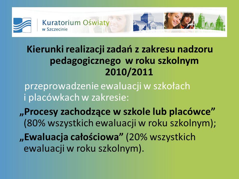 Kierunki realizacji zadań z zakresu nadzoru pedagogicznego w roku szkolnym 2010/2011 przeprowadzenie ewaluacji w szkołach i placówkach w zakresie: Procesy zachodzące w szkole lub placówce (80% wszystkich ewaluacji w roku szkolnym); Ewaluacja całościowa (20% wszystkich ewaluacji w roku szkolnym).