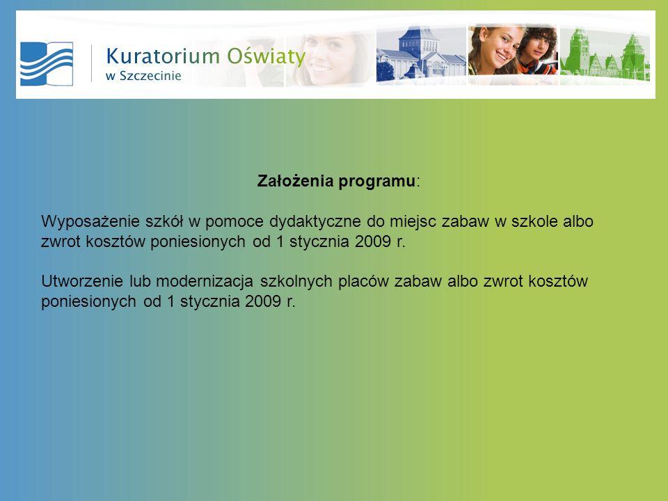 Założenia programu: Wyposażenie szkół w pomoce dydaktyczne do miejsc zabaw w szkole albo zwrot kosztów poniesionych od 1 stycznia 2009 r. Utworzenie l