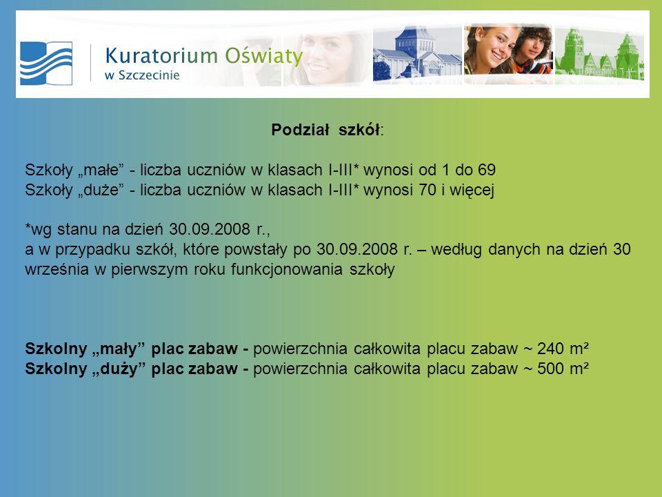Podział szkół: Szkoły małe - liczba uczniów w klasach I-III* wynosi od 1 do 69 Szkoły duże - liczba uczniów w klasach I-III* wynosi 70 i więcej *wg stanu na dzień 30.09.2008 r., a w przypadku szkół, które powstały po 30.09.2008 r.
