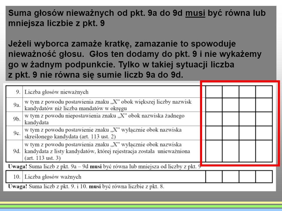 Suma głosów nieważnych od pkt. 9a do 9d musi być równa lub mniejsza liczbie z pkt. 9 Jeżeli wyborca zamaże kratkę, zamazanie to spowoduje nieważność g