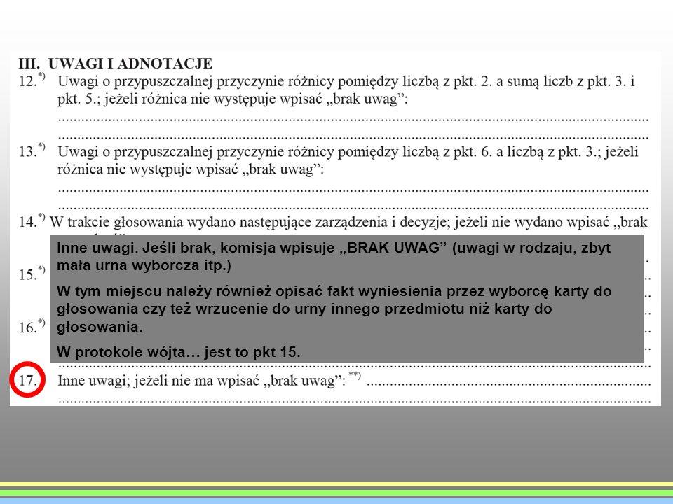 Inne uwagi. Jeśli brak, komisja wpisuje BRAK UWAG (uwagi w rodzaju, zbyt mała urna wyborcza itp.) W tym miejscu należy również opisać fakt wyniesienia