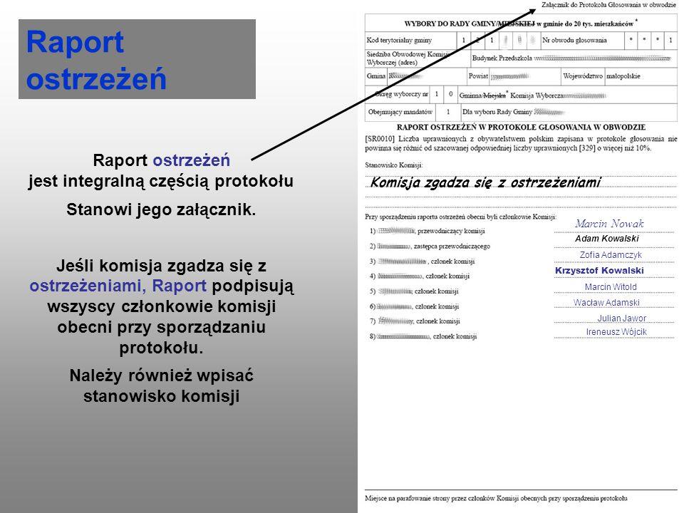 Raport ostrzeżeń Raport ostrzeżeń jest integralną częścią protokołu Stanowi jego załącznik. Jeśli komisja zgadza się z ostrzeżeniami, Raport podpisują
