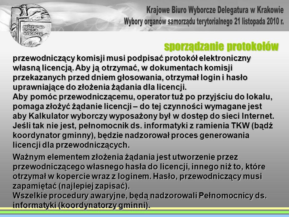 przewodniczący komisji musi podpisać protokół elektroniczny własną licencją. Aby ją otrzymać, w dokumentach komisji przekazanych przed dniem głosowani