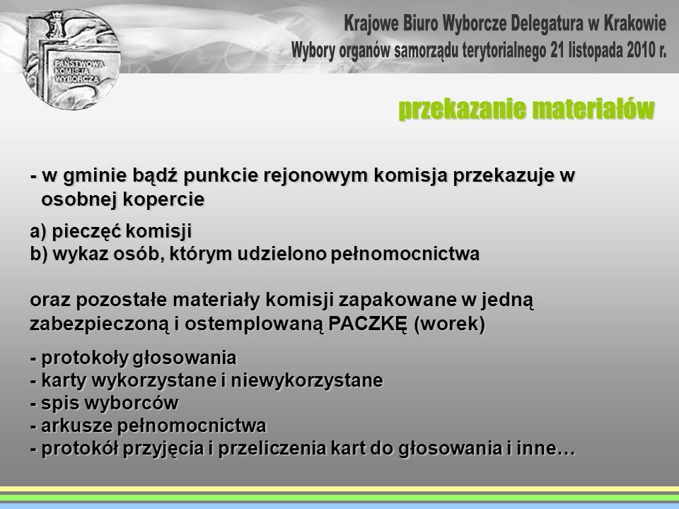 - w gminie bądź punkcie rejonowym komisja przekazuje w osobnej kopercie osobnej kopercie a) pieczęć komisji b) wykaz osób, którym udzielono pełnomocni