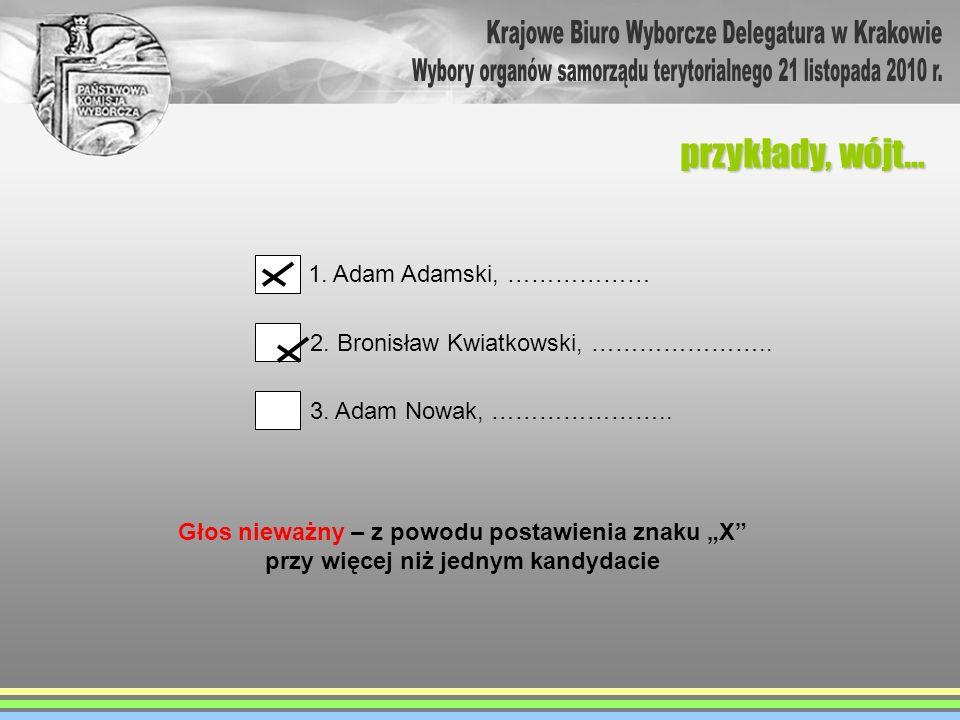 przykłady, wójt… 1. Adam Adamski, ……………… 2. Bronisław Kwiatkowski, ………………….. 3. Adam Nowak, ………………….. Głos nieważny – z powodu postawienia znaku X prz