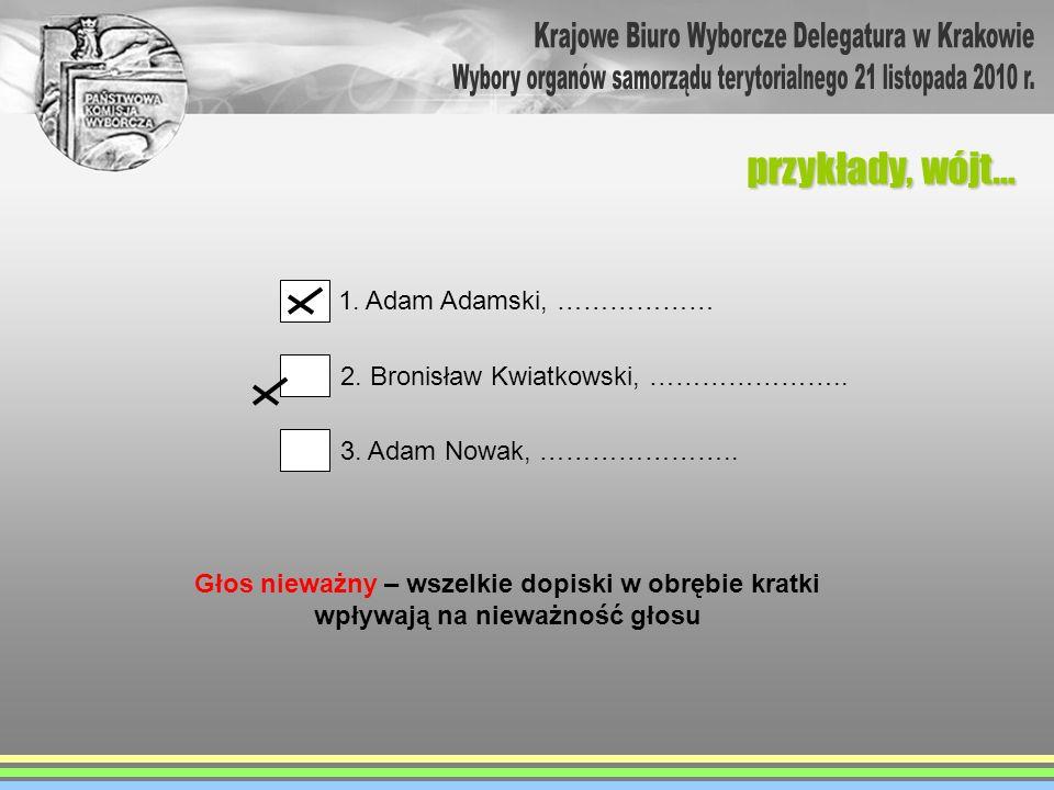 przykłady, wójt… 1. Adam Adamski, ……………… 2. Bronisław Kwiatkowski, ………………….. 3. Adam Nowak, ………………….. Głos nieważny – wszelkie dopiski w obrębie kratk