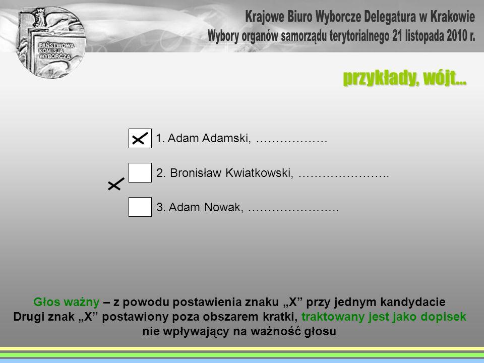przykłady, wójt… 1. Adam Adamski, ……………… 2. Bronisław Kwiatkowski, ………………….. 3. Adam Nowak, ………………….. Głos ważny – z powodu postawienia znaku X przy j