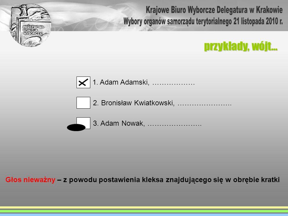 przykłady, wójt… 1. Adam Adamski, ……………… 2. Bronisław Kwiatkowski, ………………….. 3. Adam Nowak, ………………….. Głos nieważny – z powodu postawienia kleksa znaj
