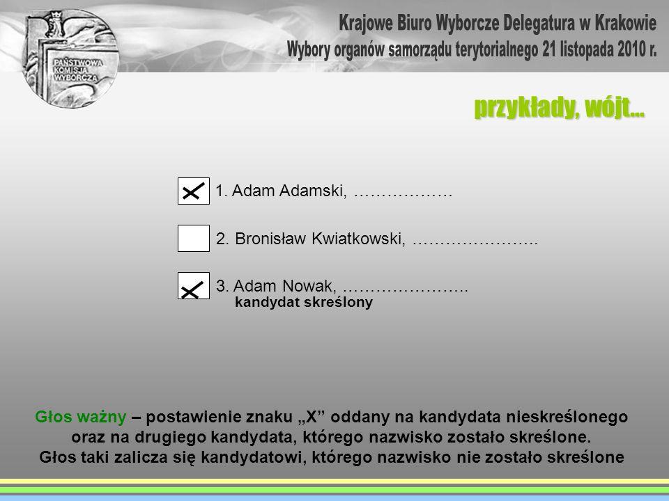 przykłady, wójt… 1. Adam Adamski, ……………… 2. Bronisław Kwiatkowski, ………………….. 3. Adam Nowak, ………………….. Głos ważny – postawienie znaku X oddany na kandy