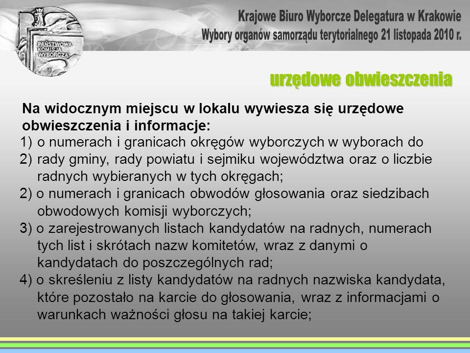 urzędowe obwieszczenia 1)o numerach i granicach okręgów wyborczych w wyborach do 2)rady gminy, rady powiatu i sejmiku województwa oraz o liczbie radny