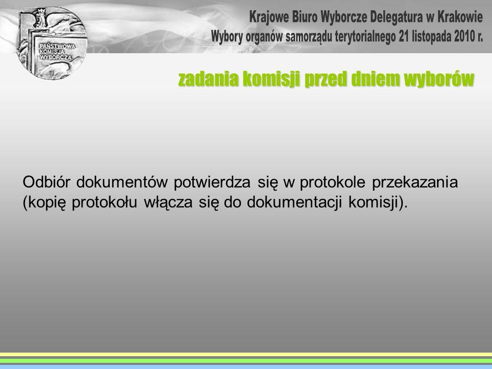 Odbiór dokumentów potwierdza się w protokole przekazania (kopię protokołu włącza się do dokumentacji komisji). zadania komisji przed dniem wyborów