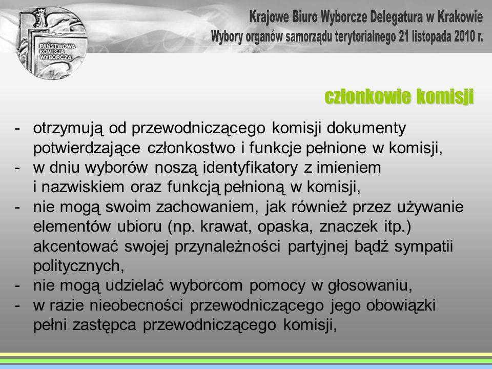 -otrzymują od przewodniczącego komisji dokumenty potwierdzające członkostwo i funkcje pełnione w komisji, -w dniu wyborów noszą identyfikatory z imien