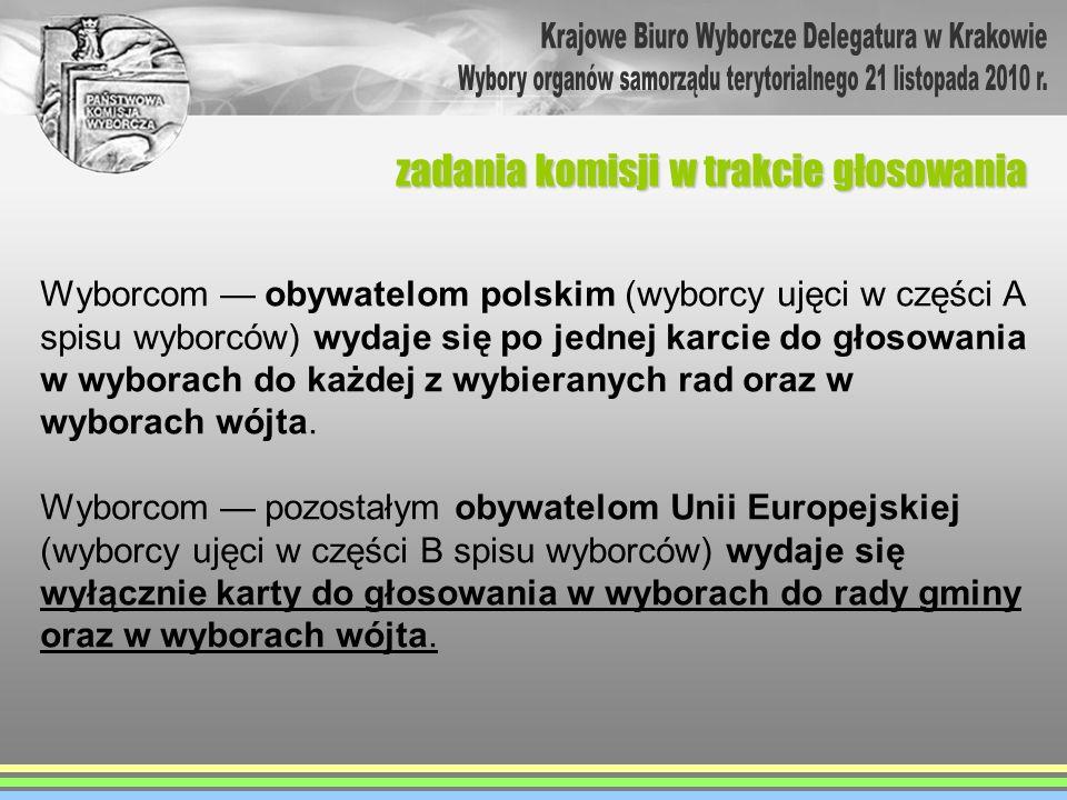 zadania komisji w trakcie głosowania Wyborcom obywatelom polskim (wyborcy ujęci w części A spisu wyborców) wydaje się po jednej karcie do głosowania w