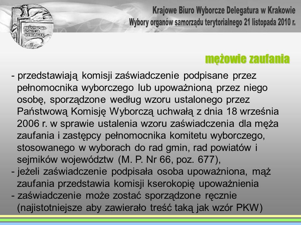 - przedstawiają komisji zaświadczenie podpisane przez pełnomocnika wyborczego lub upoważnioną przez niego osobę, sporządzone według wzoru ustalonego p