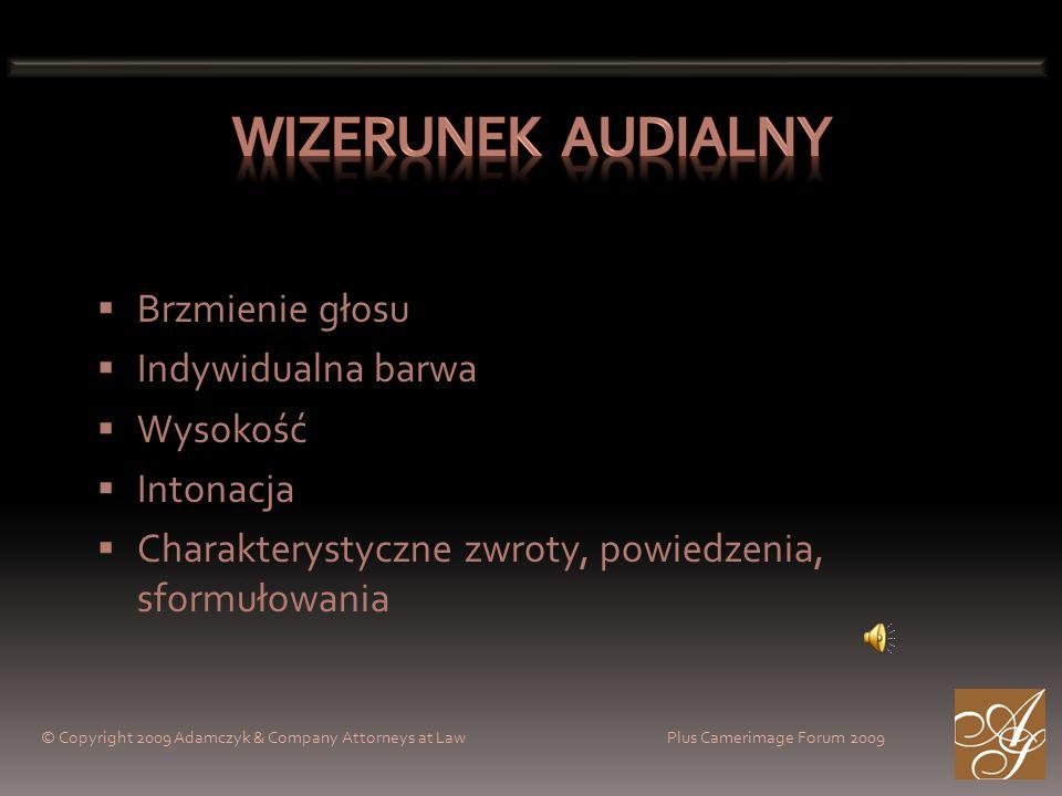 © Copyright 2009 Adamczyk & Company Attorneys at Law Plus Camerimage Forum 2009 Brzmienie głosu Indywidualna barwa Wysokość Intonacja Charakterystyczn