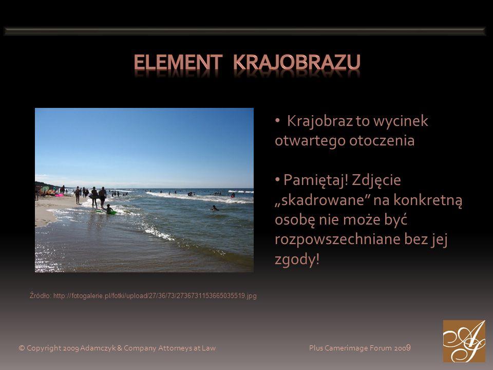 © Copyright 2009 Adamczyk & Company Attorneys at Law Plus Camerimage Forum 200 9 Krajobraz to wycinek otwartego otoczenia Pamiętaj! Zdjęcie skadrowane