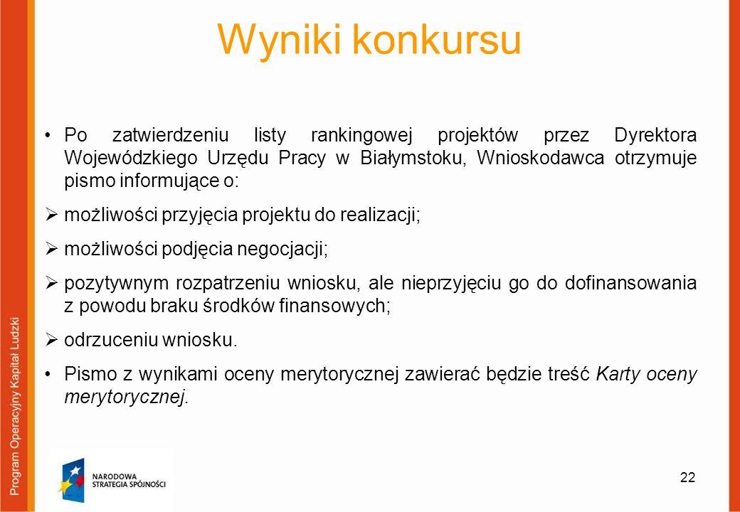 Wyniki konkursu Po zatwierdzeniu listy rankingowej projektów przez Dyrektora Wojewódzkiego Urzędu Pracy w Białymstoku, Wnioskodawca otrzymuje pismo in