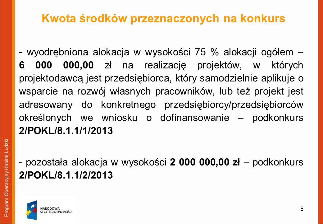 5 Kwota środków przeznaczonych na konkurs - wyodrębniona alokacja w wysokości 75 % alokacji ogółem – 6 000 000,00 zł na realizację projektów, w któryc