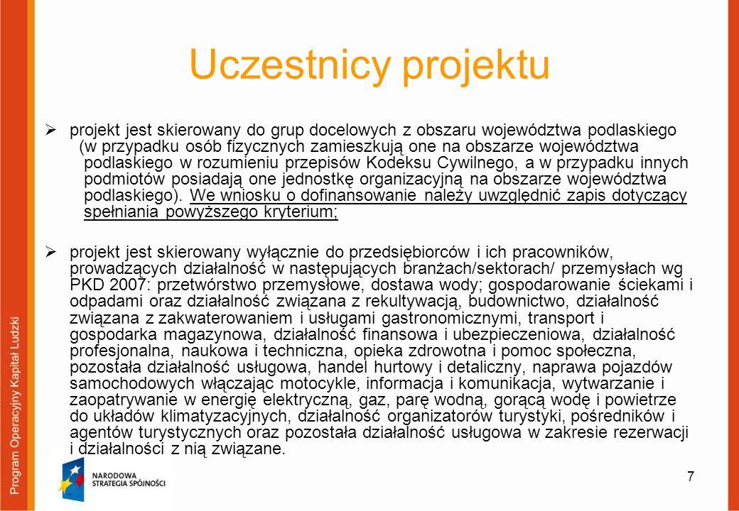 Uczestnicy projektu projekt jest skierowany do grup docelowych z obszaru województwa podlaskiego (w przypadku osób fizycznych zamieszkują one na obsza
