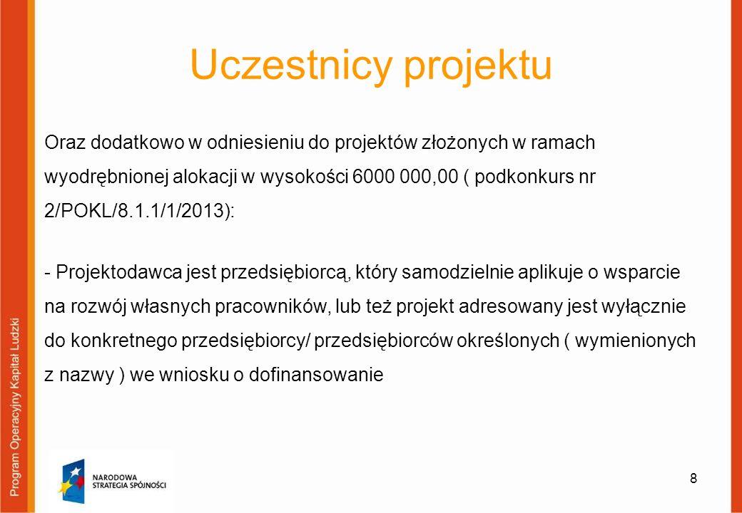 Uczestnicy projektu Oraz dodatkowo w odniesieniu do projektów złożonych w ramach wyodrębnionej alokacji w wysokości 6000 000,00 ( podkonkurs nr 2/POKL/8.1.1/1/2013): - Projektodawca jest przedsiębiorcą, który samodzielnie aplikuje o wsparcie na rozwój własnych pracowników, lub też projekt adresowany jest wyłącznie do konkretnego przedsiębiorcy/ przedsiębiorców określonych ( wymienionych z nazwy ) we wniosku o dofinansowanie 8