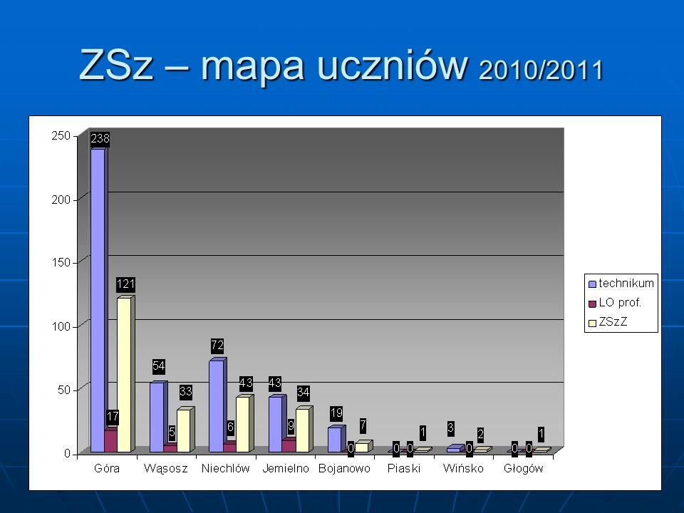ZSz – mapa uczniów 2010/2011