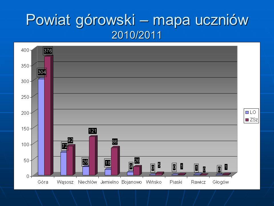 Powiat górowski – mapa uczniów 2010/2011