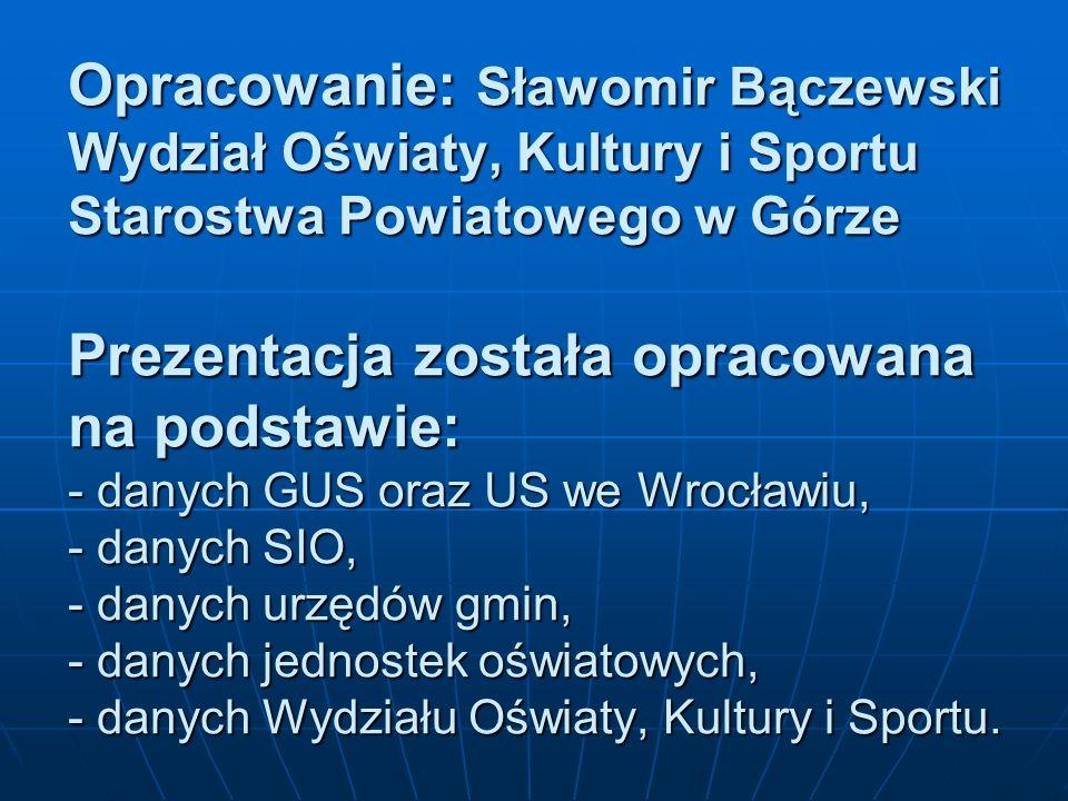 Opracowanie: Sławomir Bączewski Wydział Oświaty, Kultury i Sportu Starostwa Powiatowego w Górze Prezentacja została opracowana na podstawie: - danych