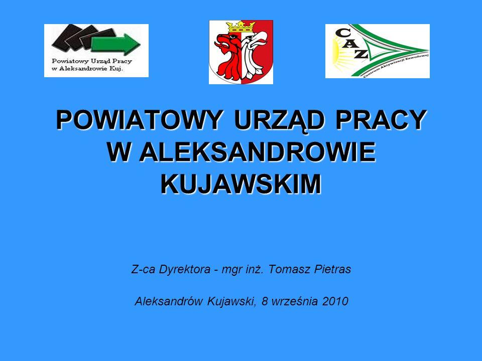 POWIATOWY URZĄD PRACY W ALEKSANDROWIE KUJAWSKIM Z-ca Dyrektora - mgr inż. Tomasz Pietras Aleksandrów Kujawski, 8 września 2010