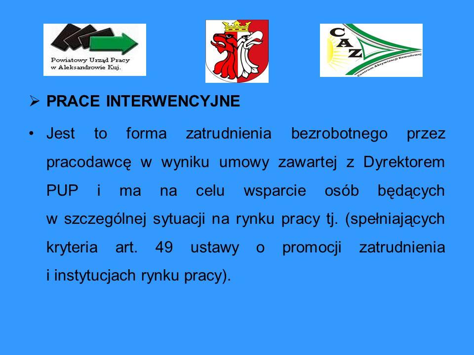 PRACE INTERWENCYJNE Jest to forma zatrudnienia bezrobotnego przez pracodawcę w wyniku umowy zawartej z Dyrektorem PUP i ma na celu wsparcie osób będąc
