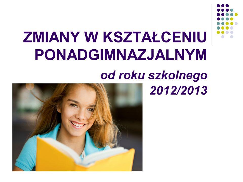ZMIANY W KSZTAŁCENIU PONADGIMNAZJALNYM od roku szkolnego 2012/2013