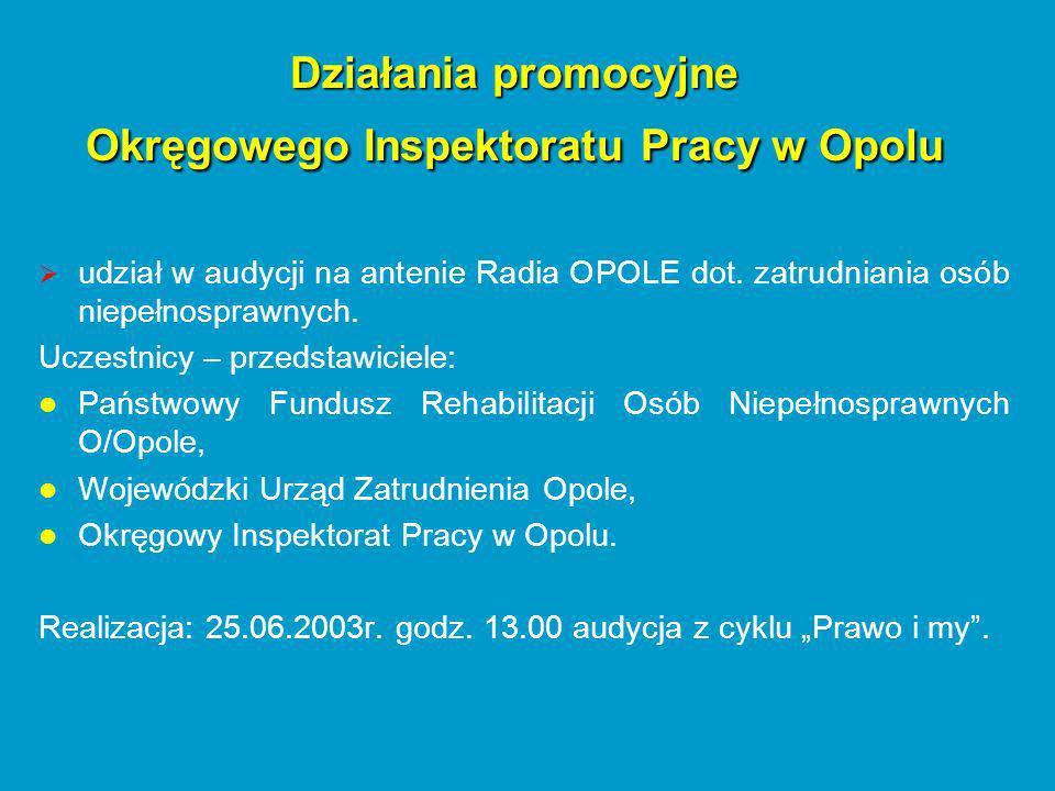udział w audycji na antenie Radia OPOLE dot. zatrudniania osób niepełnosprawnych.