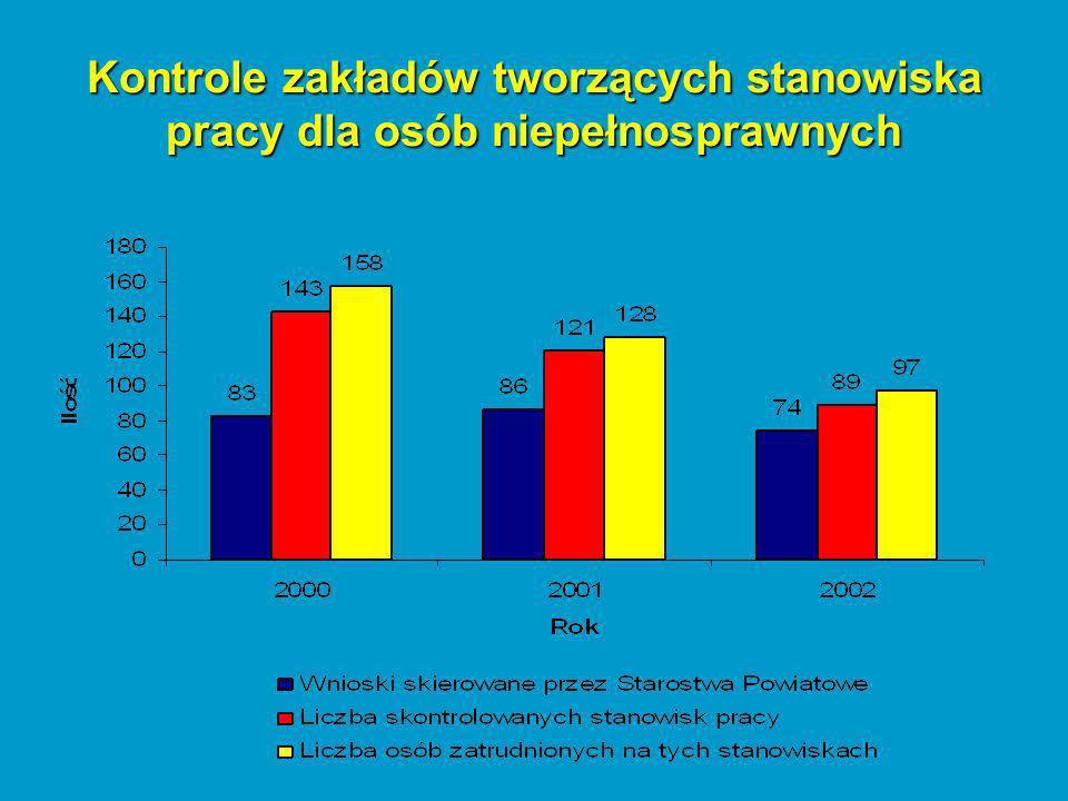 Techniczne bezpieczeństwo pracy - stwierdzone nieprawidłowości LpZagadnienia objęte kontrolą Liczba nieprawidłowości Liczba osób, których nieprawidłowości dotyczyły 200020012002200020012002 1.