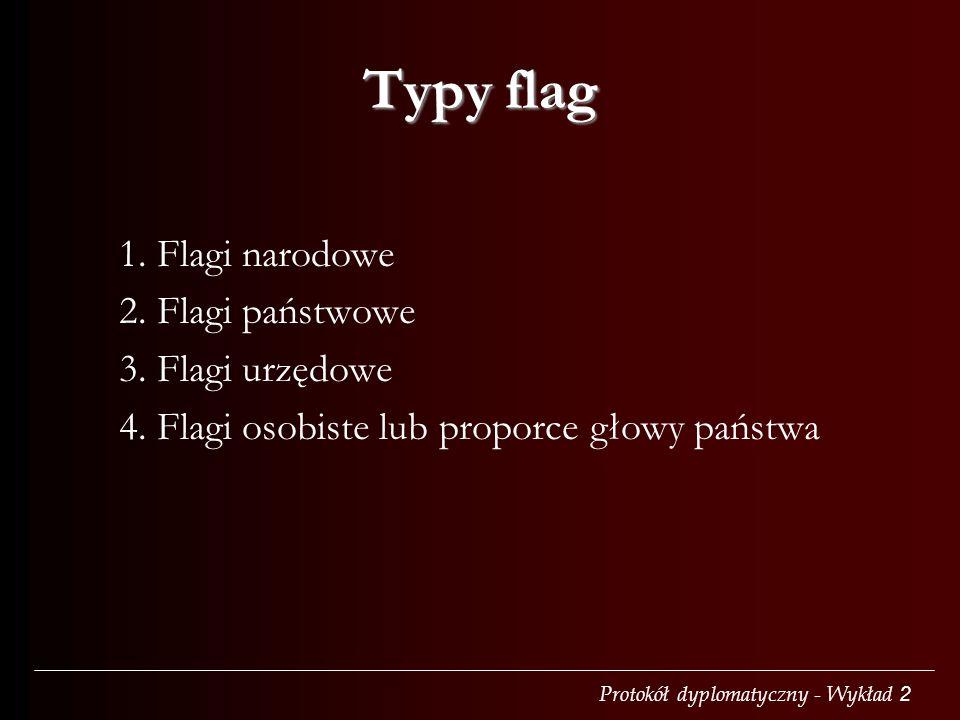 Protokół dyplomatyczny - Wykład 2 Typy flag 1. Flagi narodowe 2. Flagi państwowe 3. Flagi urzędowe 4. Flagi osobiste lub proporce głowy państwa
