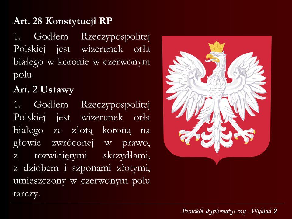 Protokół dyplomatyczny - Wykład 2 Art. 28 Konstytucji RP 1. Godłem Rzeczypospolitej Polskiej jest wizerunek orła białego w koronie w czerwonym polu. A