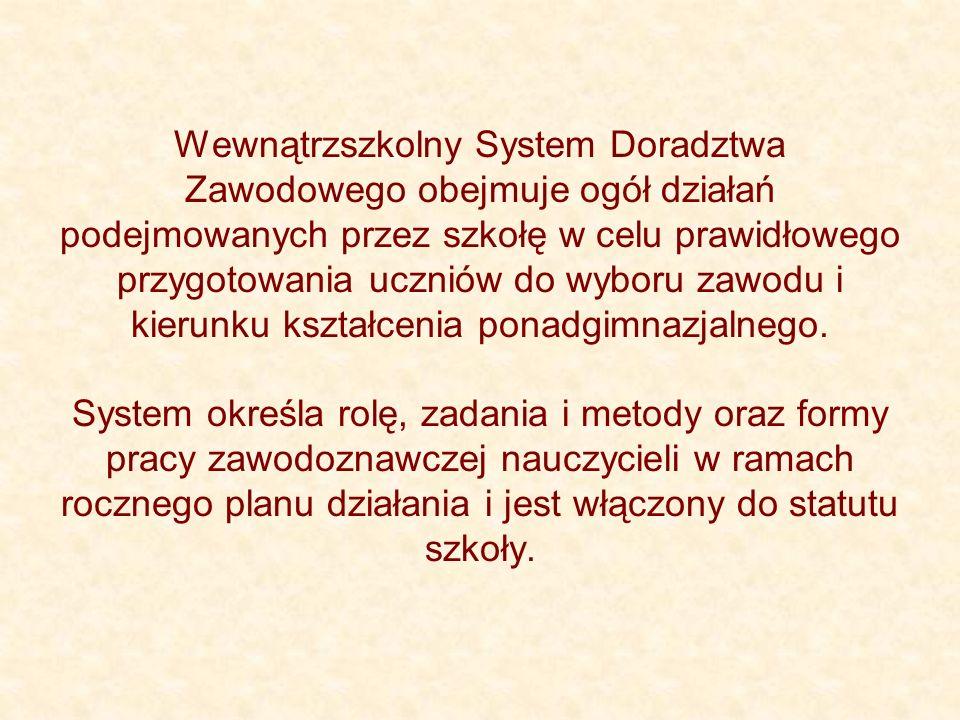 Umocowanie prawne Wewnątrzszkolnego Systemu Doradztwa Zawodowego: Rozporządzenie Ministra Edukacji Narodowej i Sportu z dnia 26 lutego 2002 r.