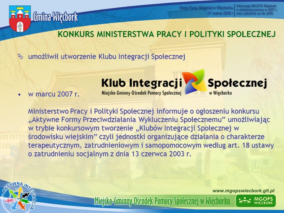 KONKURS MINISTERSTWA PRACY I POLITYKI SPOŁECZNEJ umożliwił utworzenie Klubu Integracji Społecznej umożliwił utworzenie Klubu Integracji Społecznej w m
