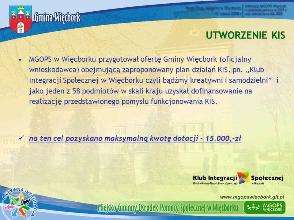 UTWORZENIE KIS MGOPS w Więcborku przygotował ofertę Gminy Więcbork (oficjalny wnioskodawca) obejmującą zaproponowany plan działań KIS, pn. Klub Integr