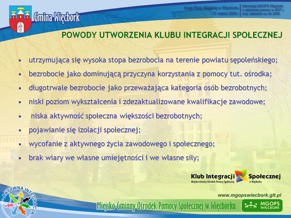 POWODY UTWORZENIA KLUBU INTEGRACJI SPOŁECZNEJ utrzymująca się wysoka stopa bezrobocia na terenie powiatu sępoleńskiego;utrzymująca się wysoka stopa be