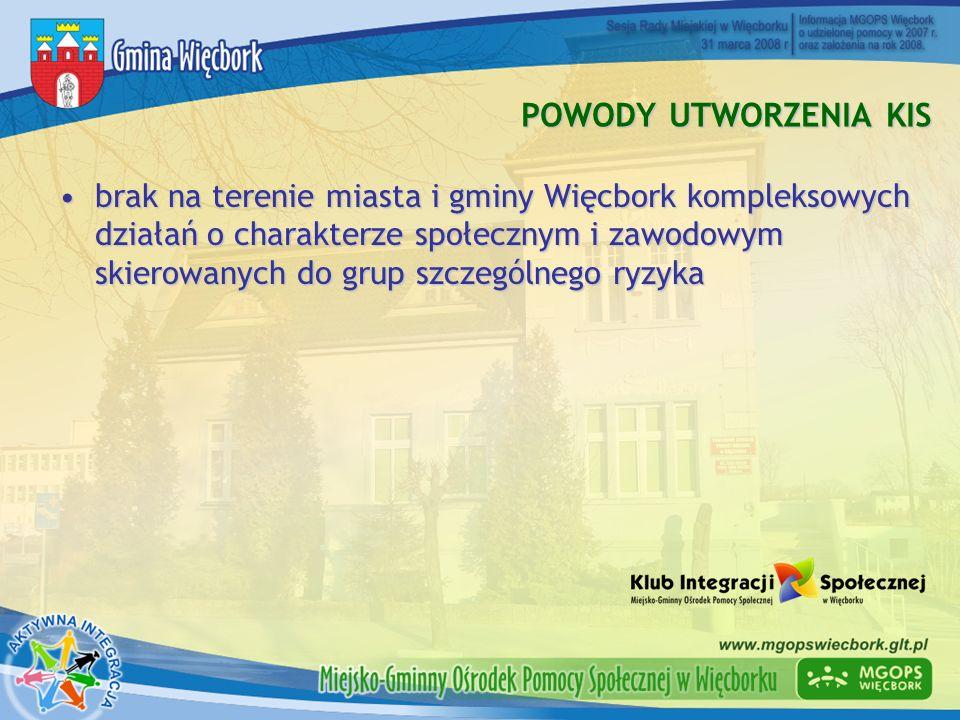 POWODY UTWORZENIA KIS brak na terenie miasta i gminy Więcbork kompleksowych działań o charakterze społecznym i zawodowym skierowanych do grup szczegól