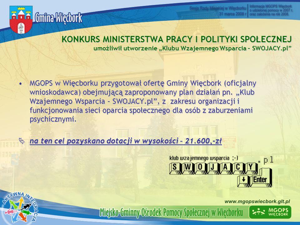 KONKURS MINISTERSTWA PRACY I POLITYKI SPOŁECZNEJ umożliwił utworzenie Klubu Wzajemnego Wsparcia – SWOJACY.pl MGOPS w Więcborku przygotował ofertę Gmin