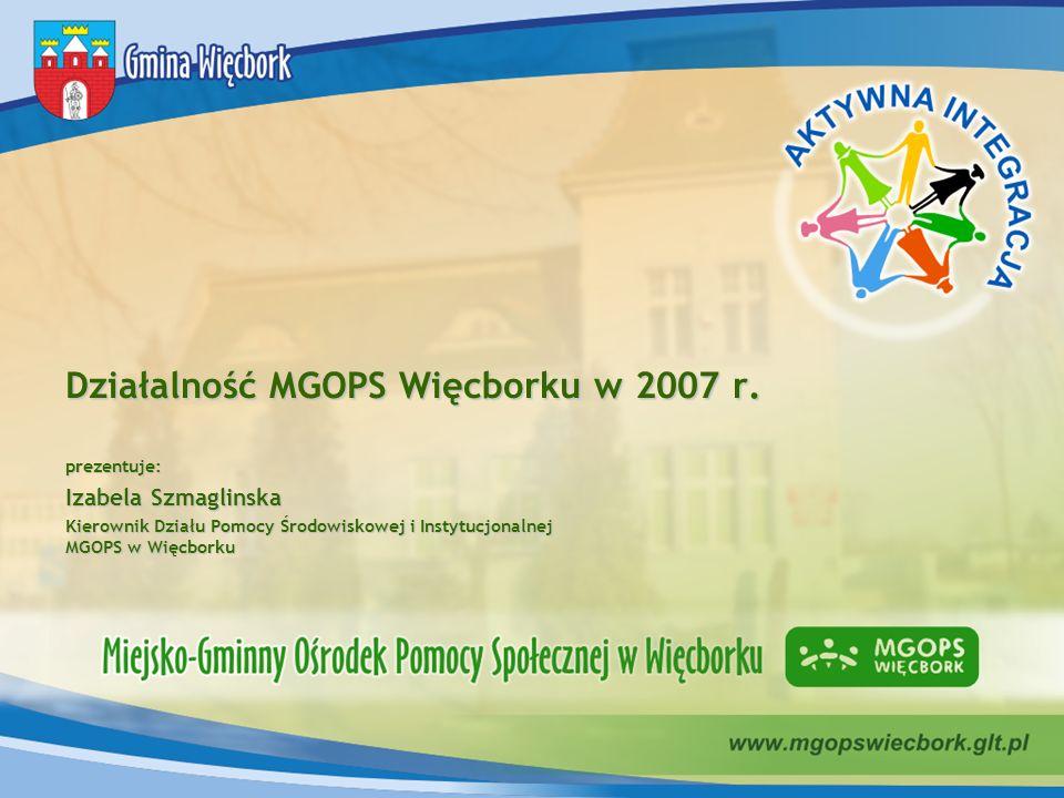 Działalność MGOPS Więcborku w 2007 r. prezentuje: Izabela Szmaglinska Kierownik Działu Pomocy Środowiskowej i Instytucjonalnej MGOPS w Więcborku