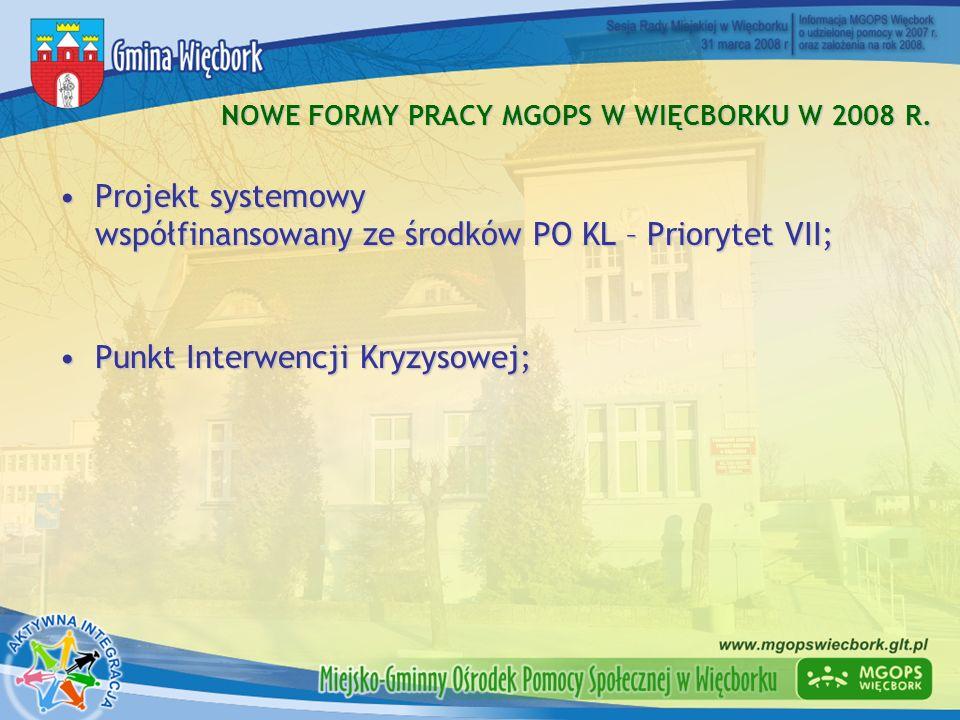 NOWE FORMY PRACY MGOPS W WIĘCBORKU W 2008 R. Projekt systemowy współfinansowany ze środków PO KL – Priorytet VII;Projekt systemowy współfinansowany ze