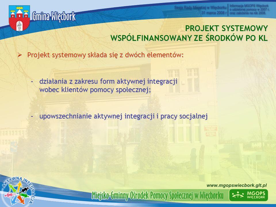 PROJEKT SYSTEMOWY WSPÓŁFINANSOWANY ZE ŚRODKÓW PO KL Projekt systemowy składa się z dwóch elementów: Projekt systemowy składa się z dwóch elementów: –d