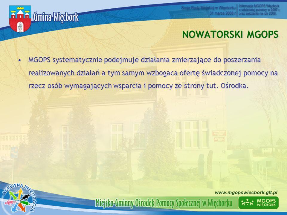 KRÓTKA CHARAKTERYSTYKA MGOPS 3 podległe placówki:3 podległe placówki: Środowiskowy Dom Samopomocy – powstał w 1998 r.