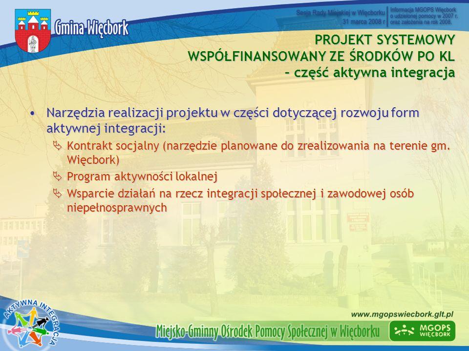PROJEKT SYSTEMOWY WSPÓŁFINANSOWANY ZE ŚRODKÓW PO KL – część aktywna integracja Narzędzia realizacji projektu w części dotyczącej rozwoju form aktywnej